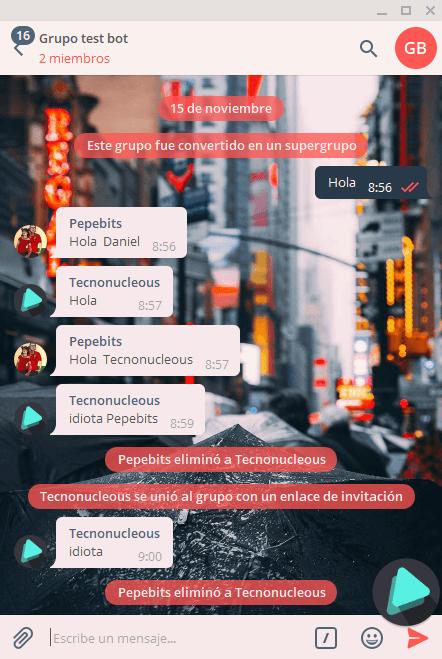 Bot Telegram banea a usuario