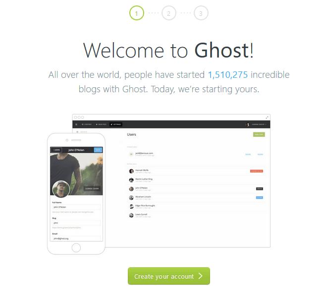 Crear cuenta en Ghost
