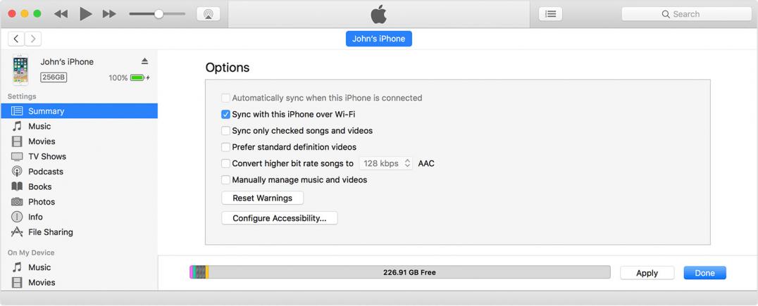 iTunes-ajustes