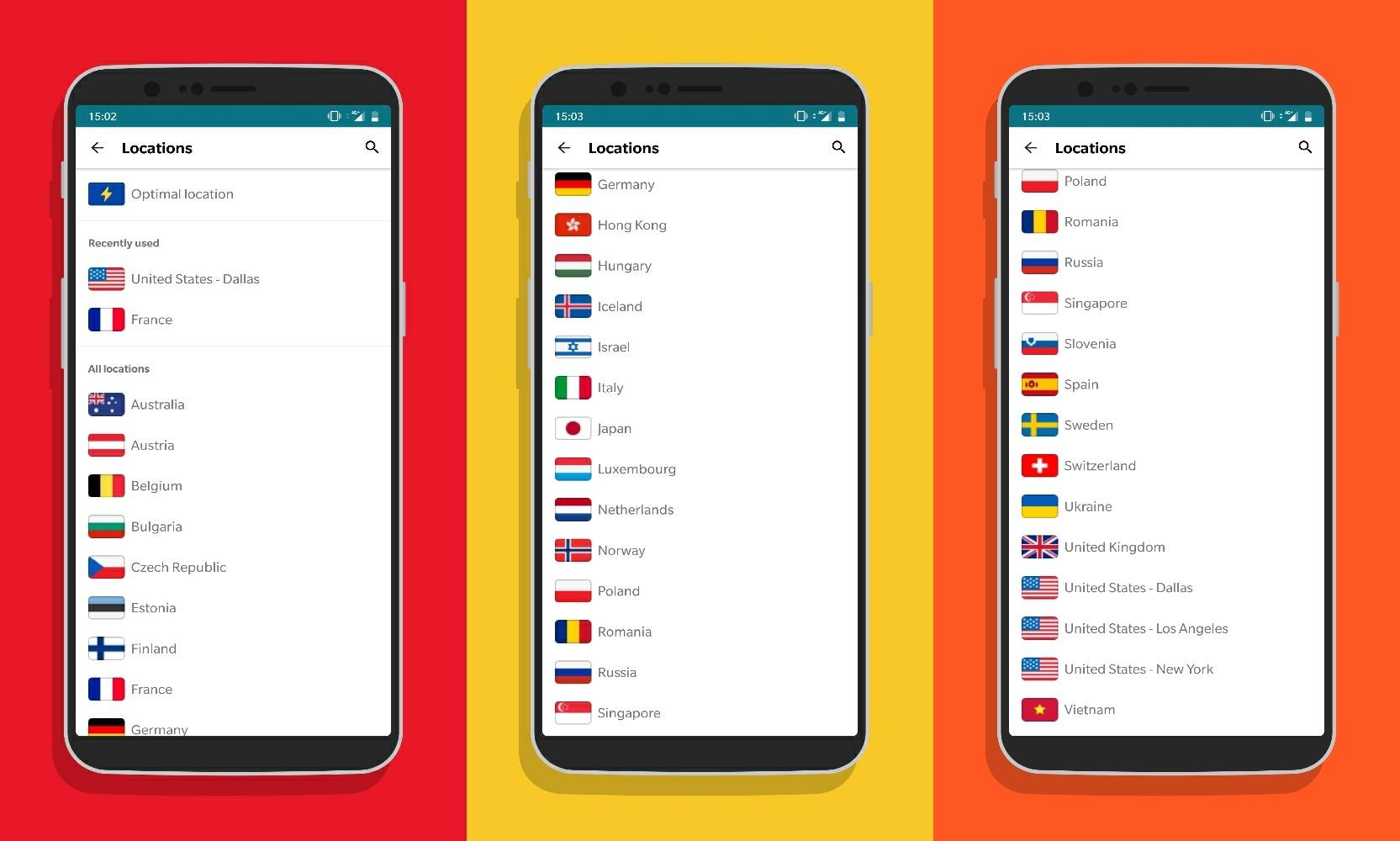 Surfshark VPN Regiones