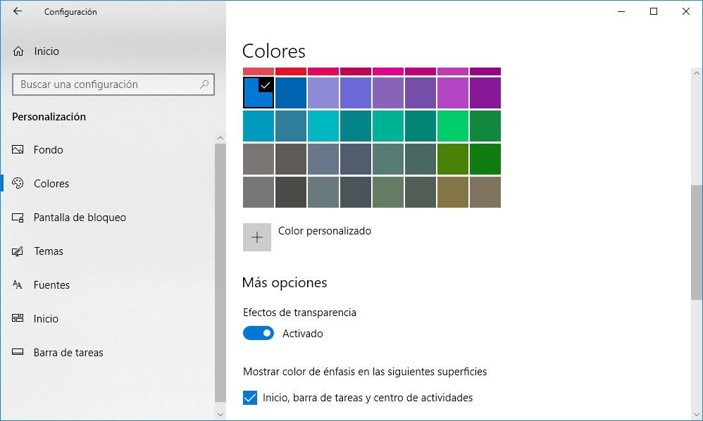 Ajustes de los colores para Windows 10