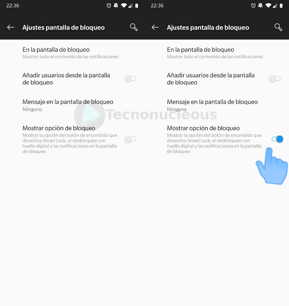 Mostrar opción bloqueo Android Pie