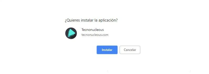 Aceptar instalación pwa Tecnonucleous