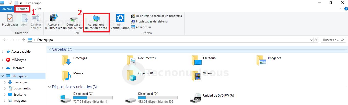 Equipo y Agregar Ubicacion de red Windows10