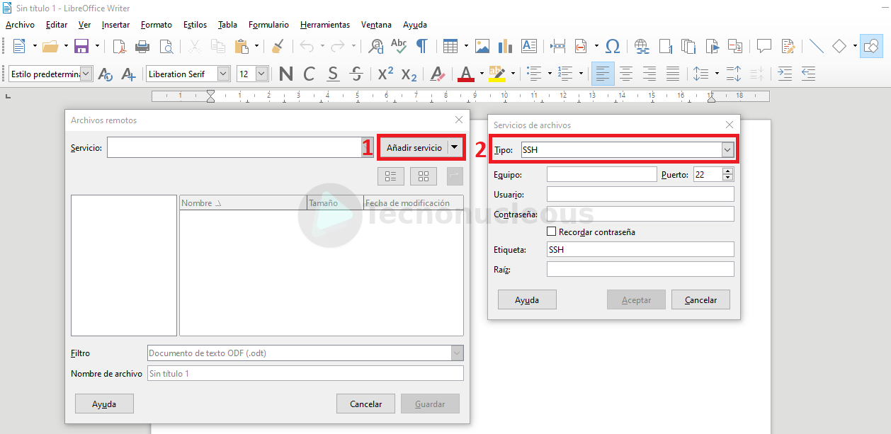 Guardar documento LibreOffice usando ssh