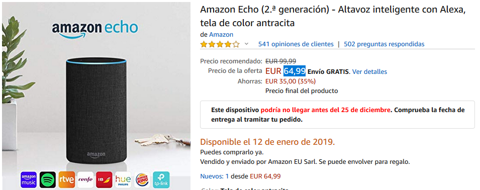 amazon-echo-disponibilidad-12-enero-2019