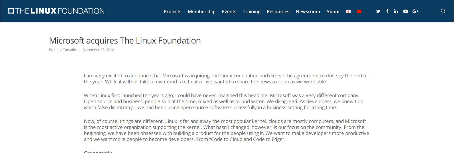 Anucio Microsoft compra la Linux Foundation