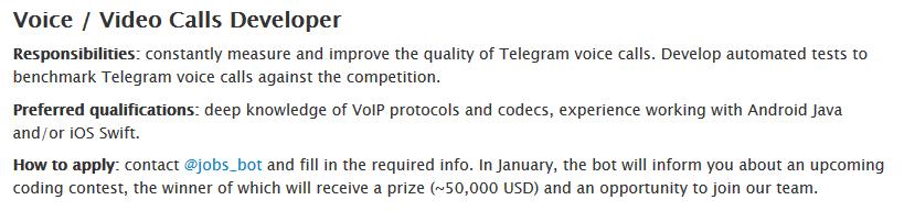Telegram busca dev llamadas de voz y videollamas