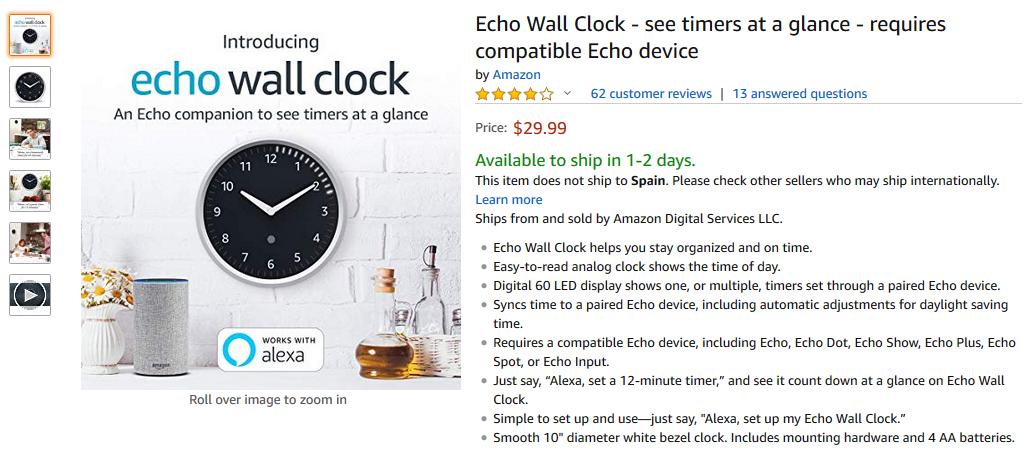 Echo Wall Clock Precio