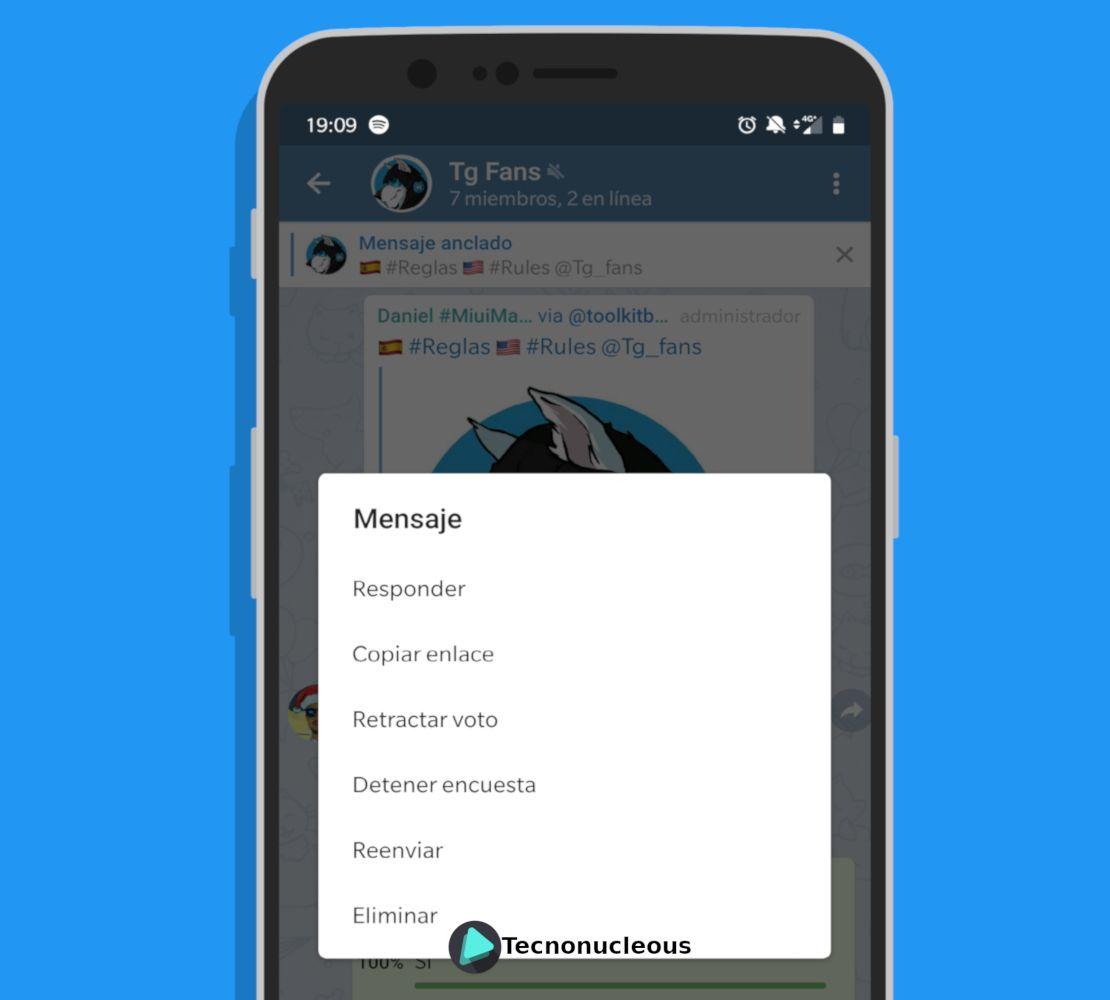 Opciones encuestas Telegram Android