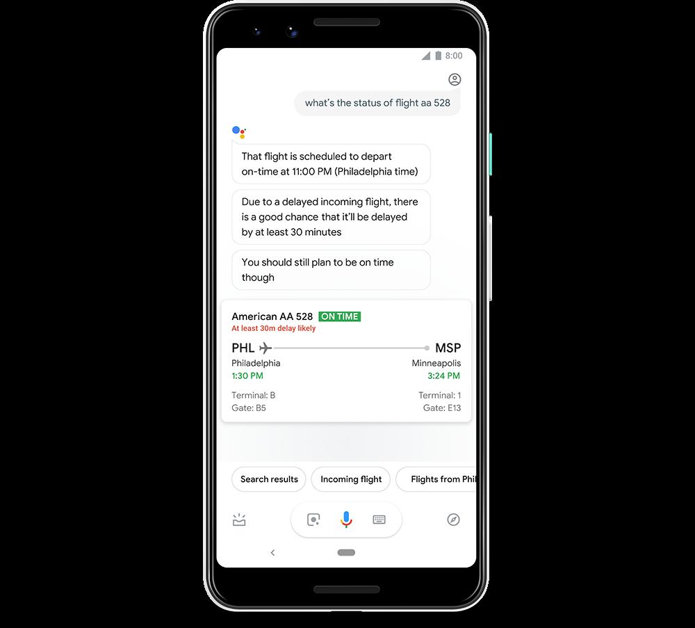 Predición retrasos vuelos en Google Assistant