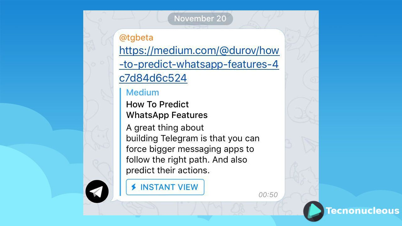 Instant View Telegram Beta 20 noviembre 2016