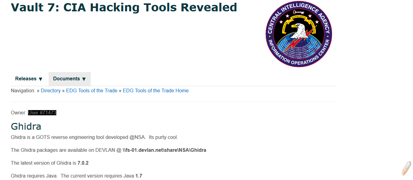 Wikileaks Vault 7 CIA Ghidra
