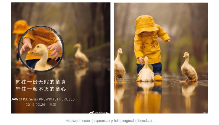Promo Huawei P30 Pro vs foto stock patos