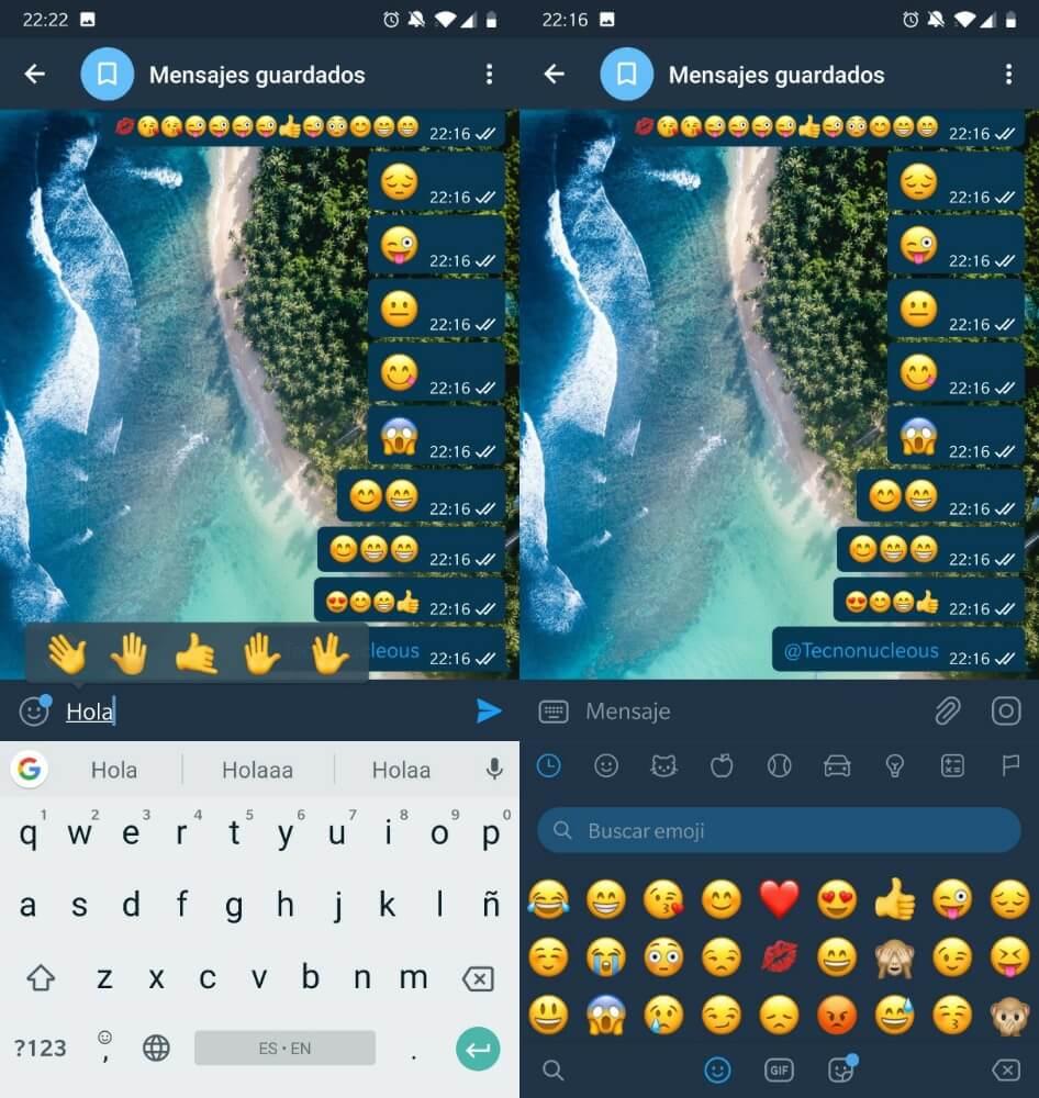 Telegram busqueda emogis stickers gifs