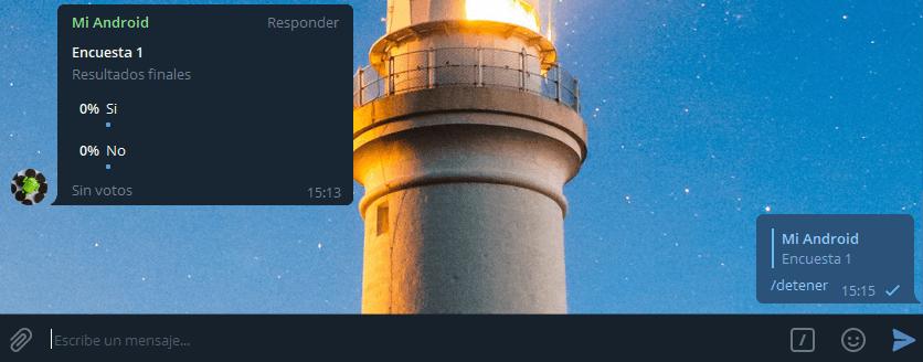 Detener encuesta bot Telegram Nodejs