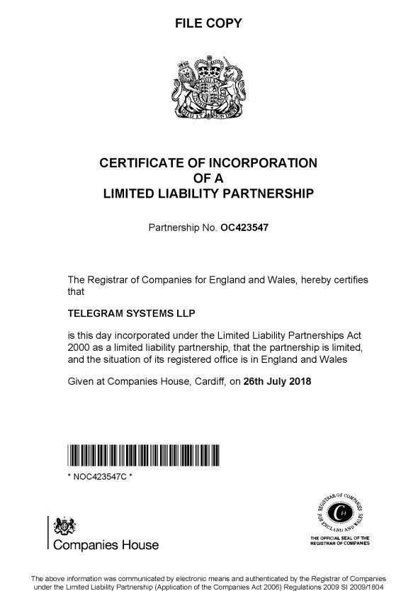 Registro Telegram System LLP