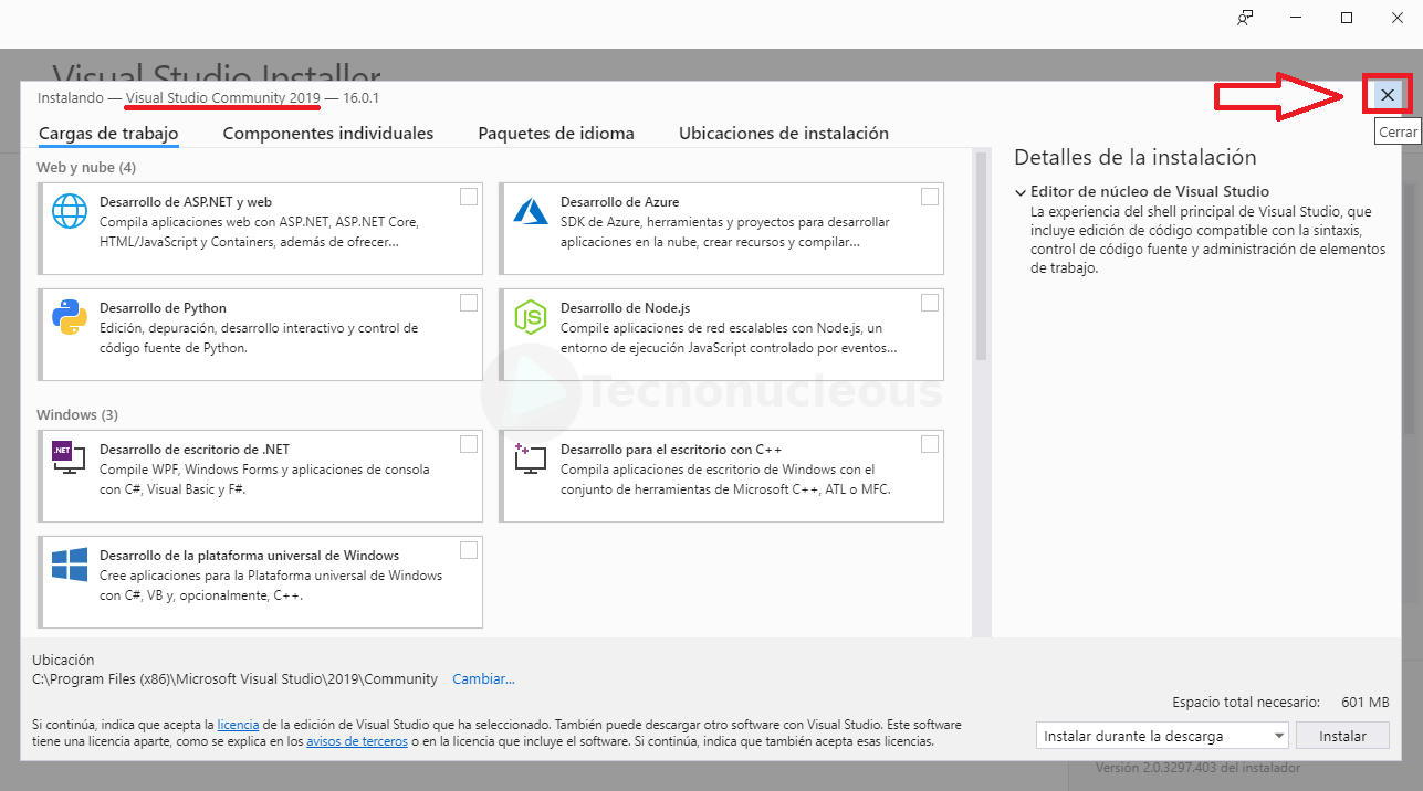 Visual Studio seleccionar versión