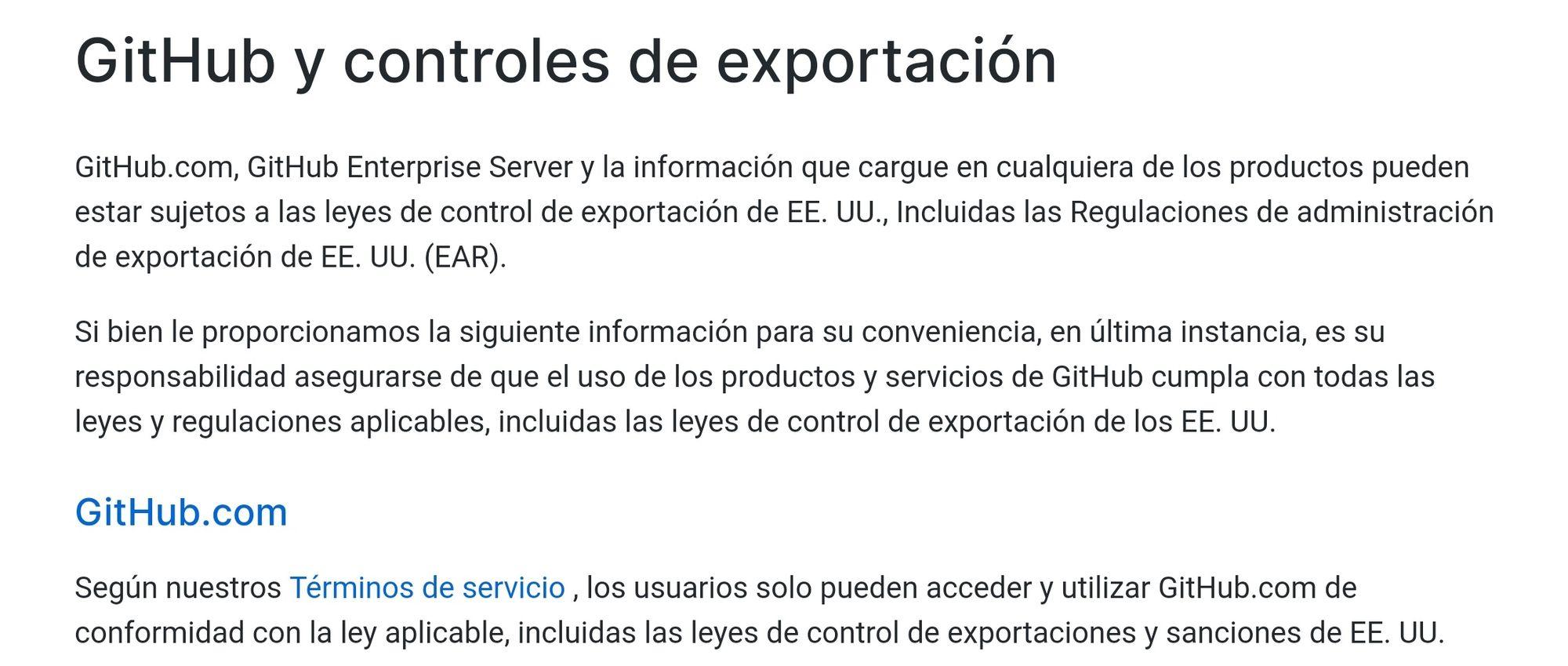Condiciones GitHub Exportación