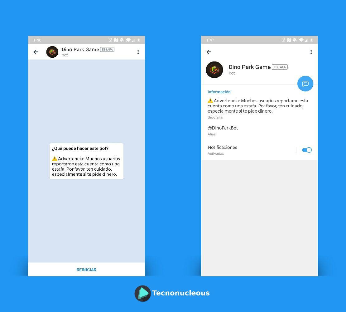 Cuentas reportas como estafa en Telegram