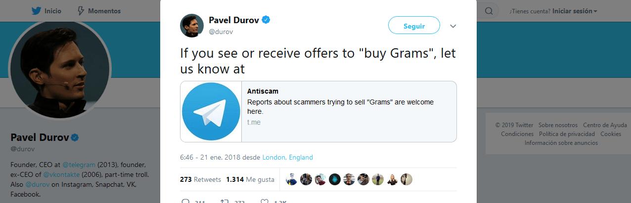 Durov twits notosam