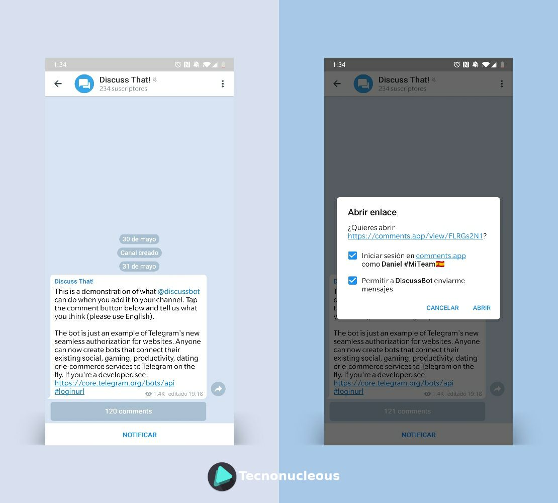 Telegram comments app