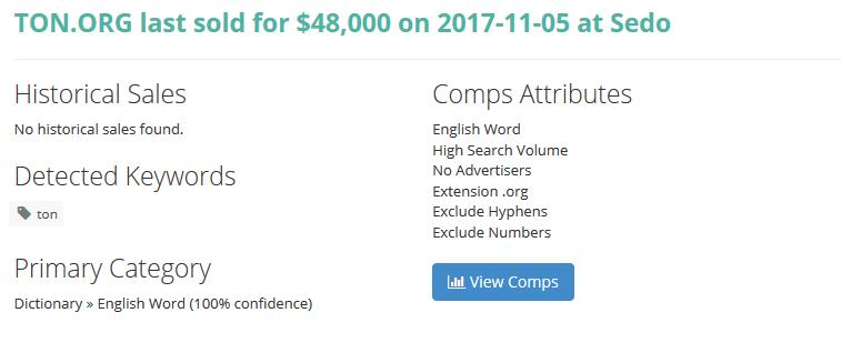 Dominio Ton org venta 2017 en sedo