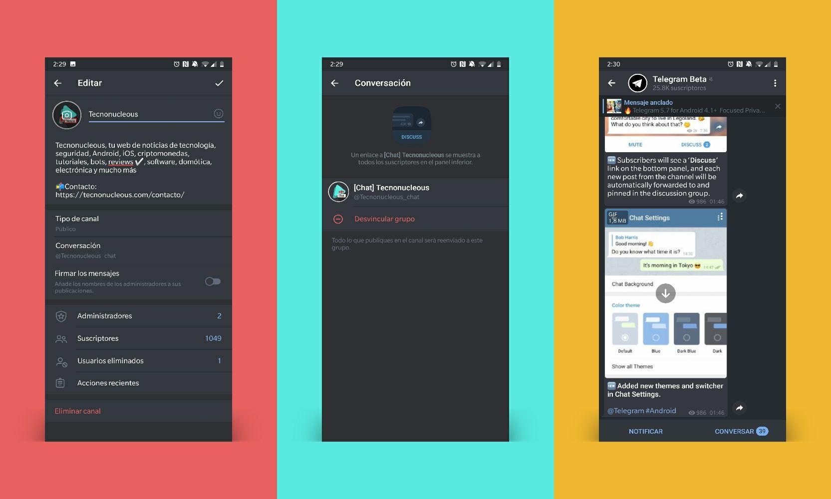 Conversación Canal a Grupo en Telegram