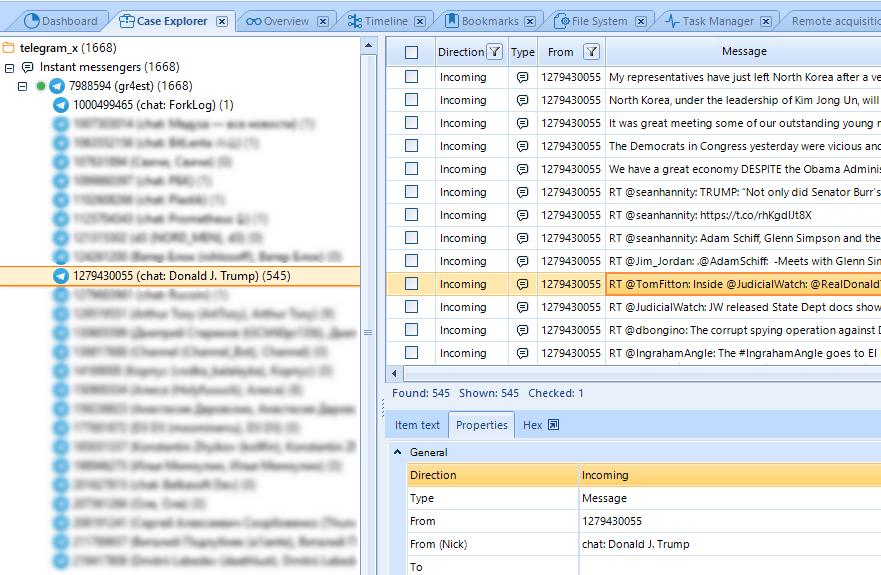 Belkasoft Telegram X decodificación mensajes