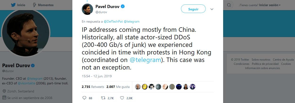 Ataque DDoS Telegram 12 de junio del 2019