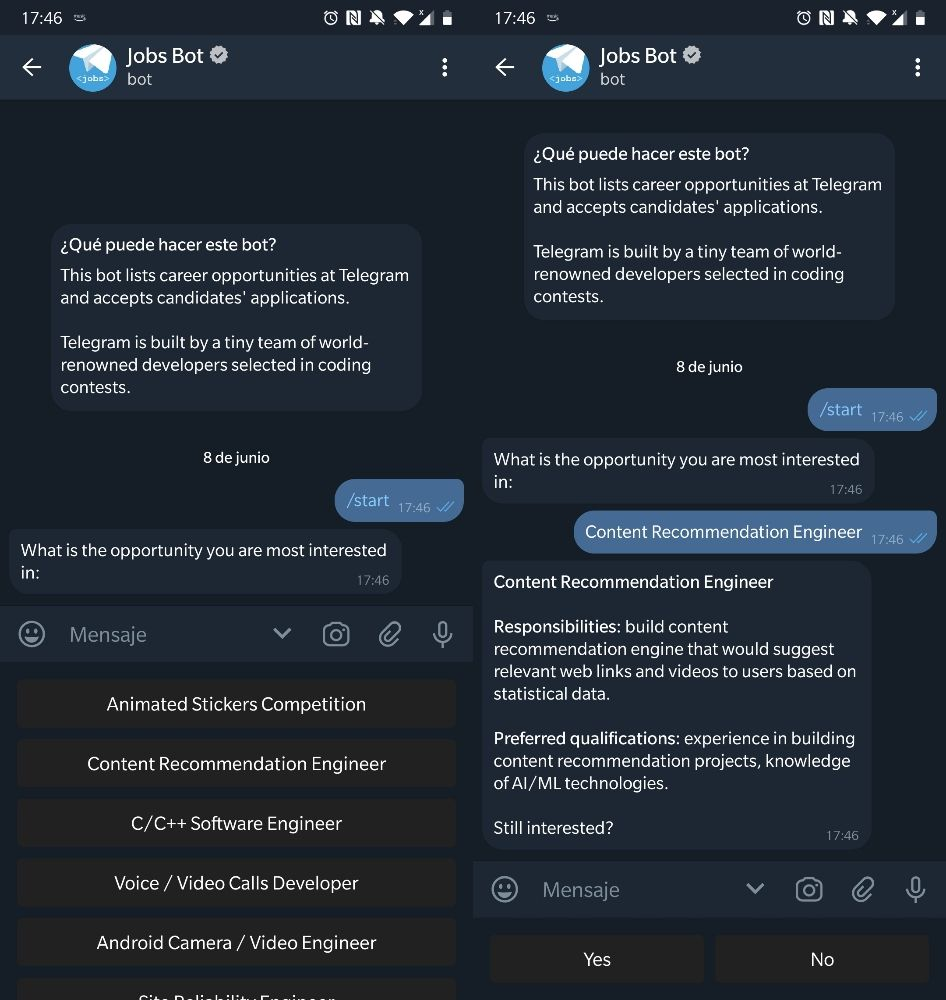 Telegram Jobs trabajadores Yadex