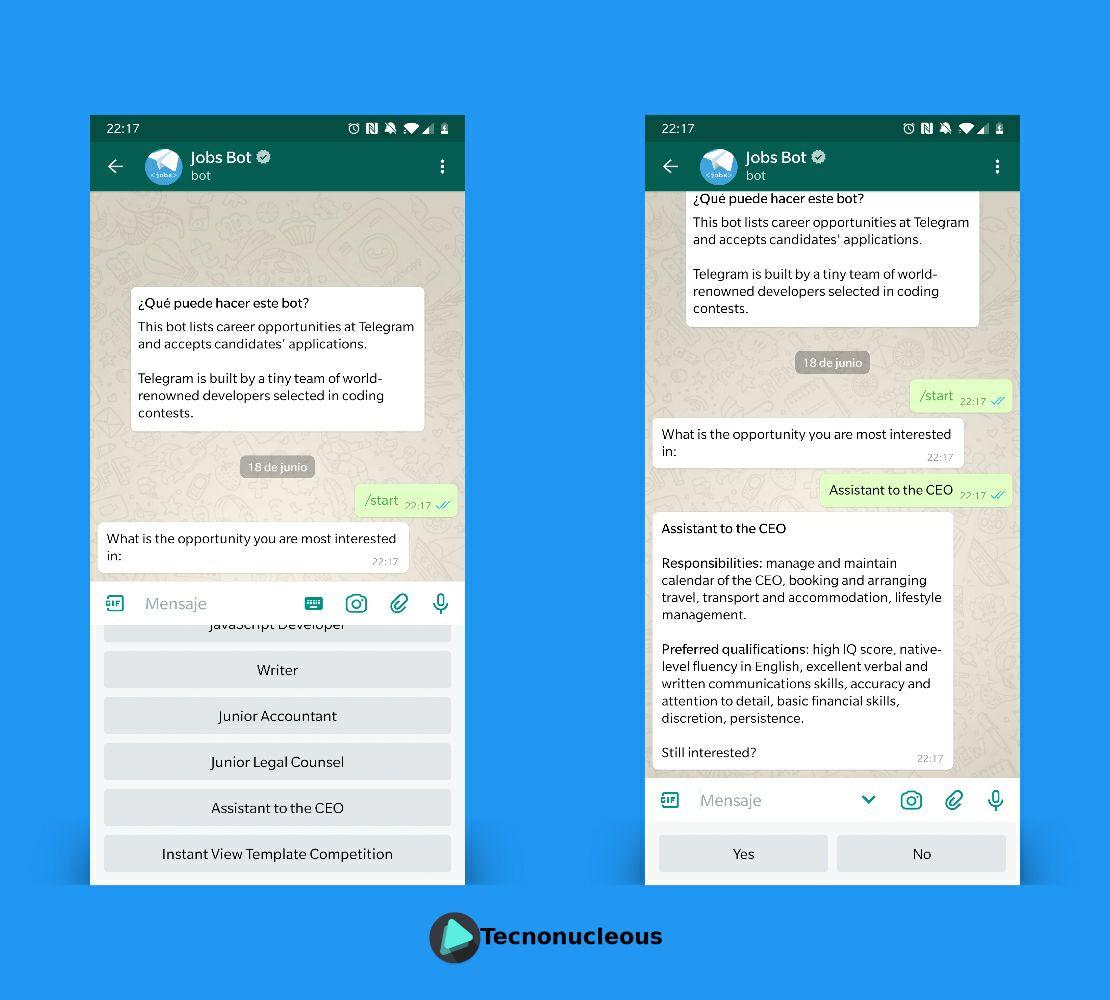 Trabajo Asistente CEO Telegram
