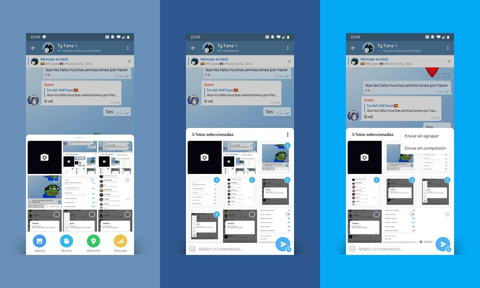 Telegram 5.10 rediseño menú enviar archivos