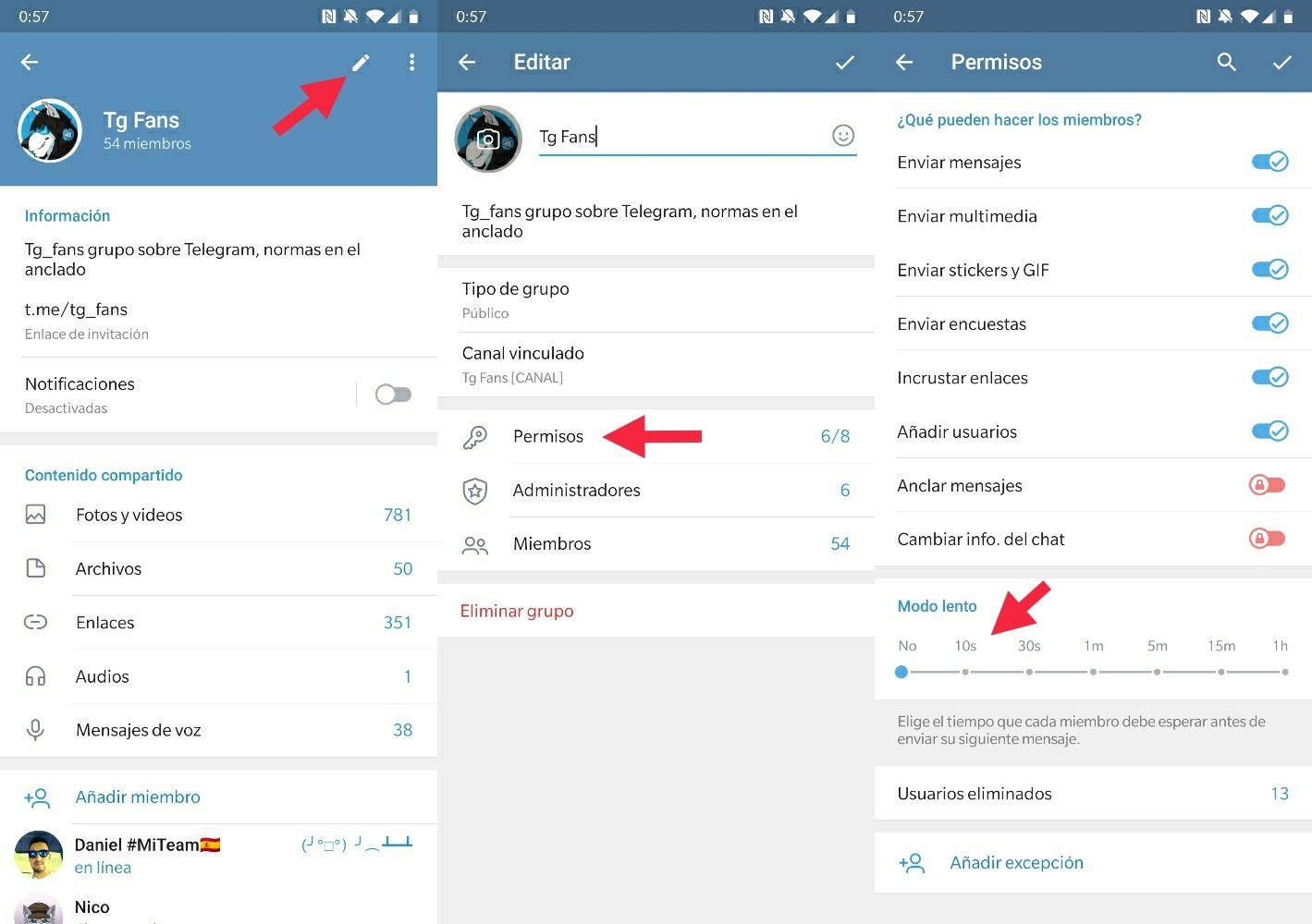 Telegram 5.10 activar modo lento grupos