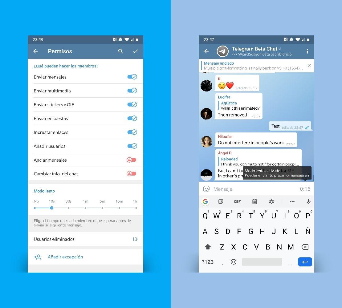Telegram 5.10 límite envío mensajes en grupos