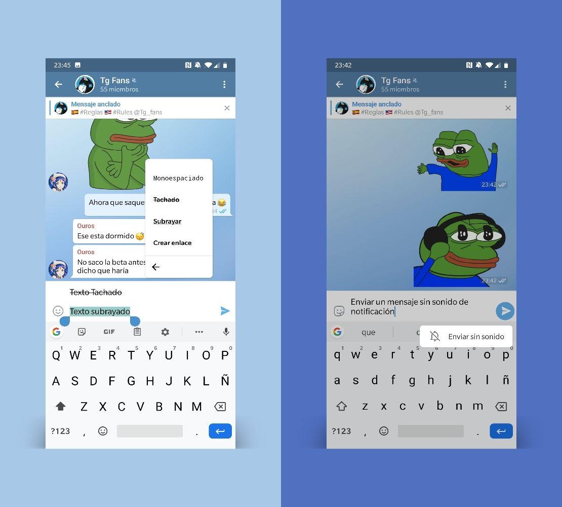 Telegram 5.10 enviar mensajes silenciosos, texto tachado y subrayado
