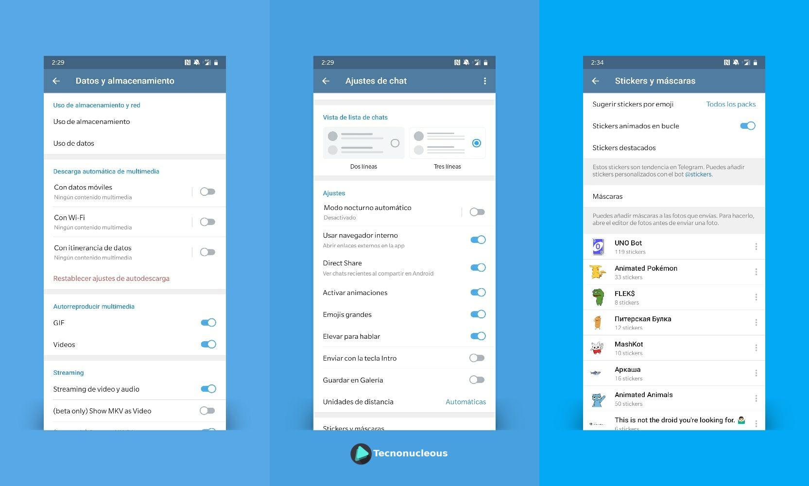 Telegram 5.10 nuevos ajustes reproducción stickers