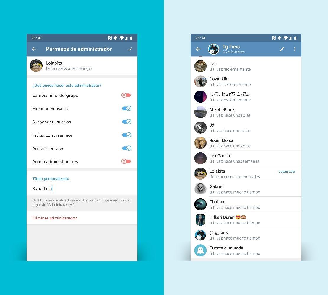 Telegram 5.10 poner un título personalizado a los administradores