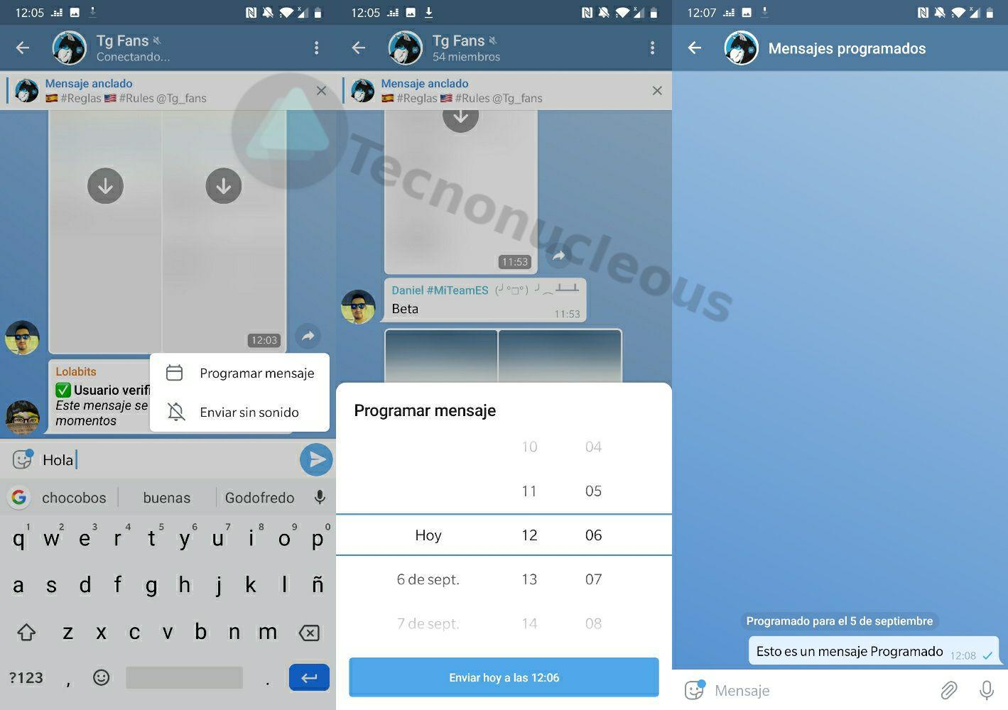 Telegram 5.11 mensajes programados