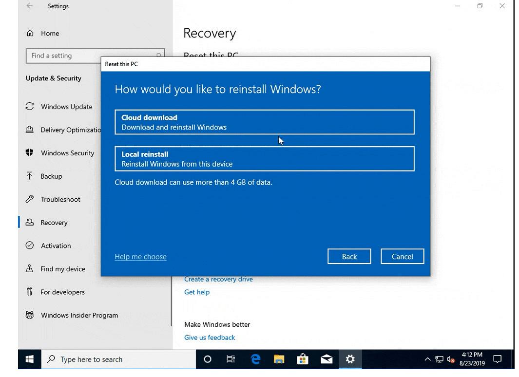 Reinstalación Windows 10 desde la nube