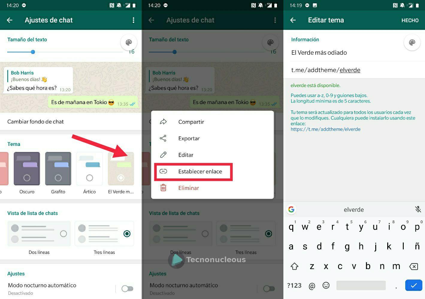 Telegram 5.11 Crear enlace al tema