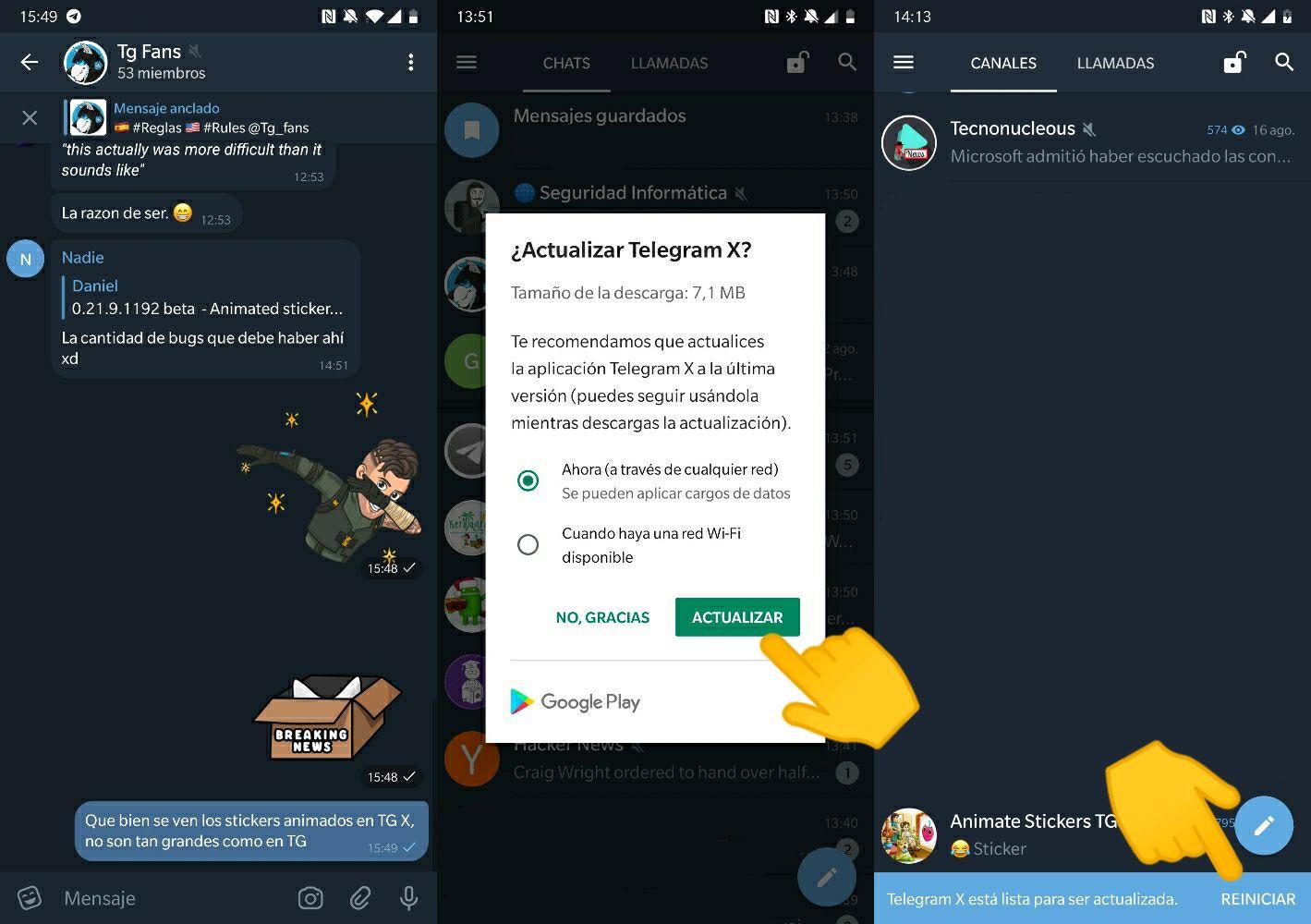 Actualizaciones In-App Telegram X