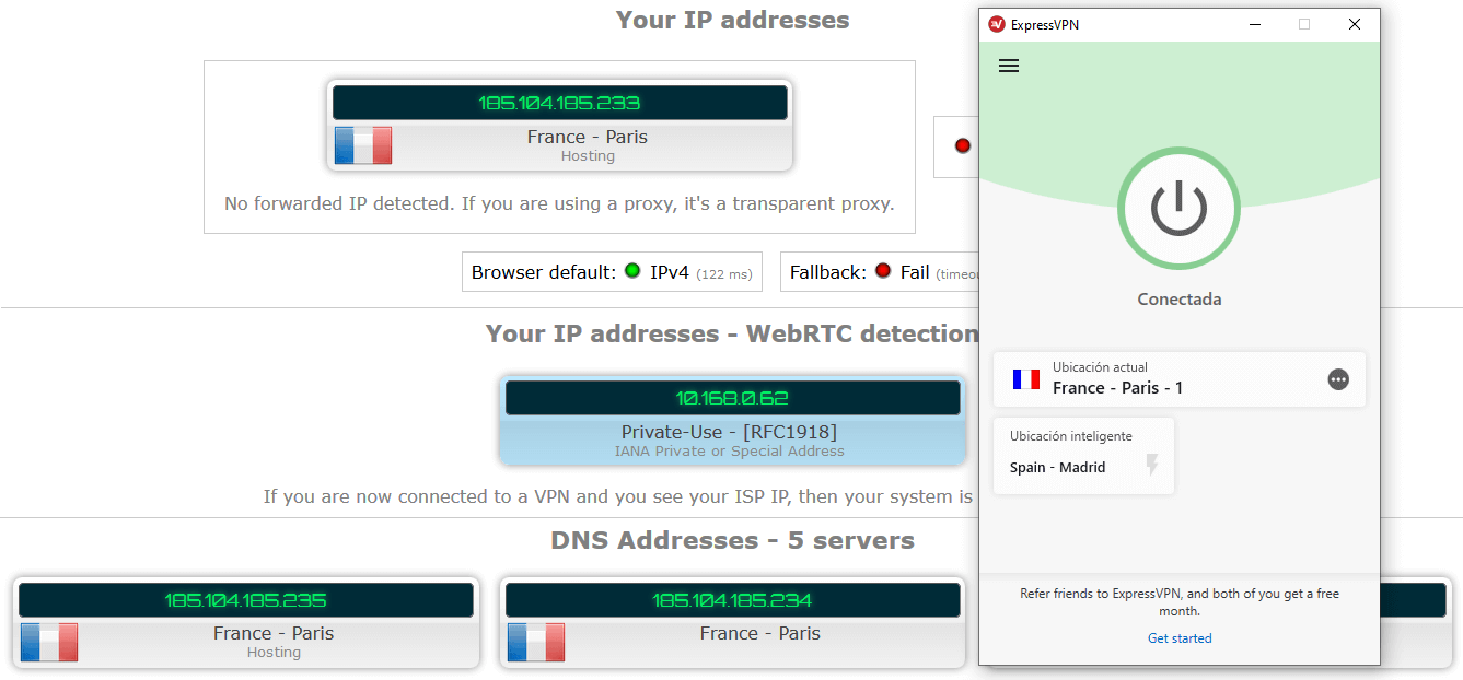 ExpressVPN Test DNS y IP Leak