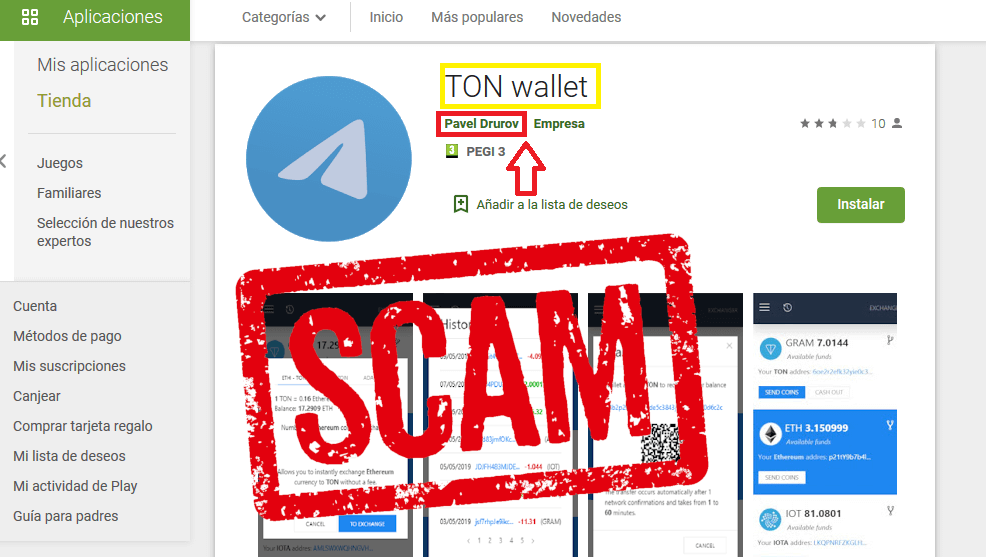 Scam Google Play TON Wallet