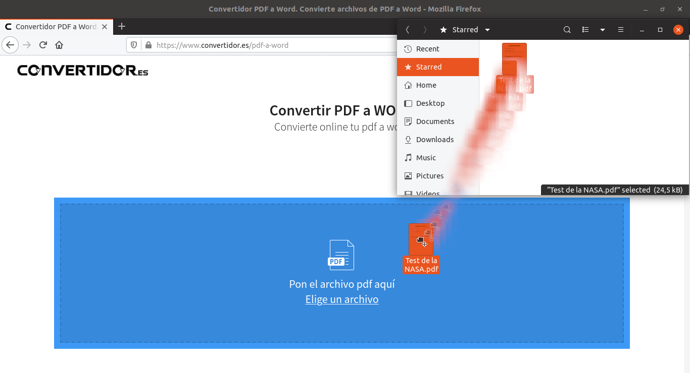 Subir archivo al convertidor
