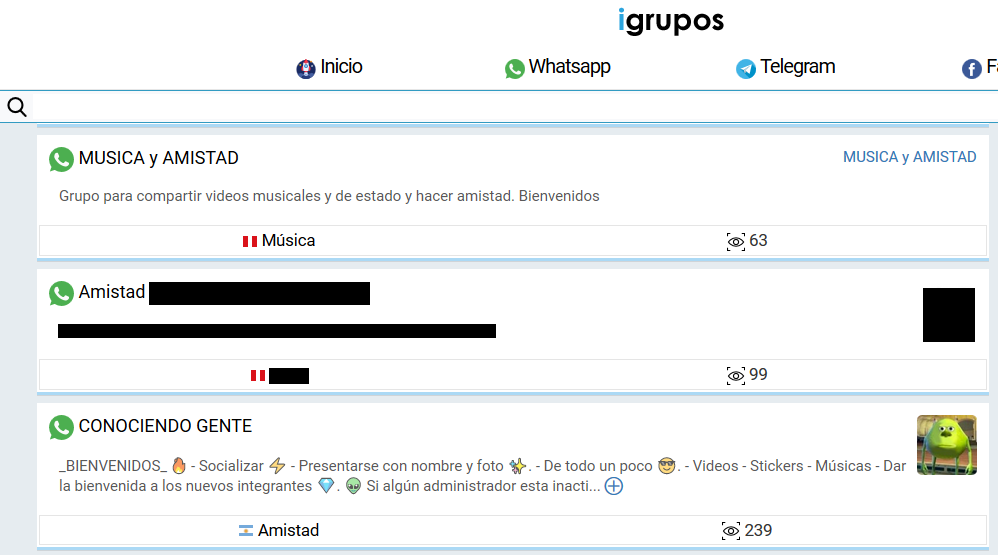 Chats Whatsapp con links expuestos