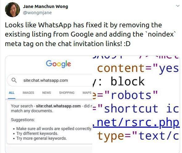 Whatsapp incluye noindex en sus urls