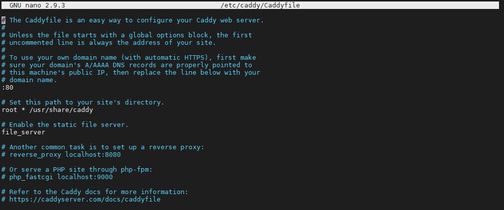 Caddy v2 configuración por defecto Caddyfile