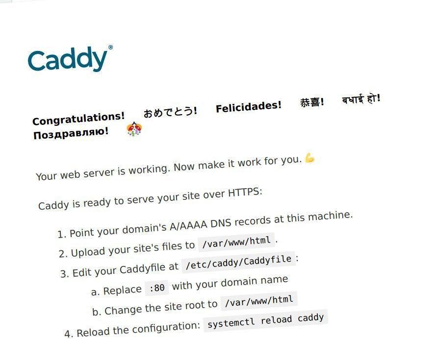 Instalación completa de Caddy