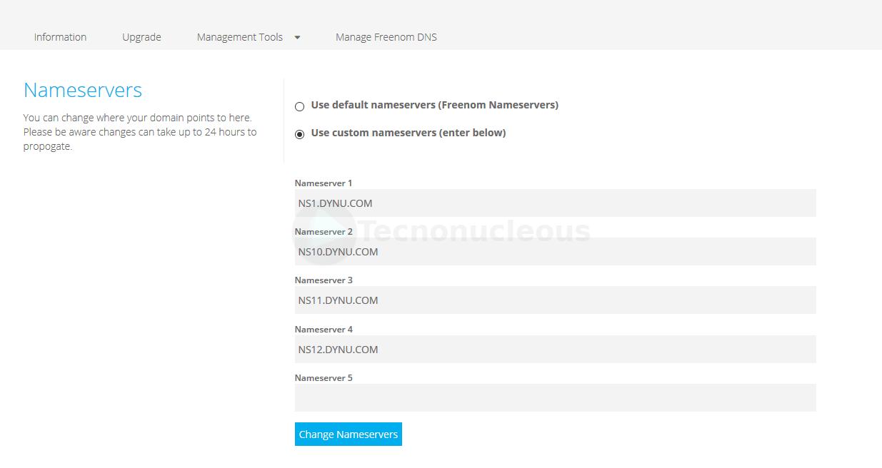 Cambiar servidores DNS dominio Freenom